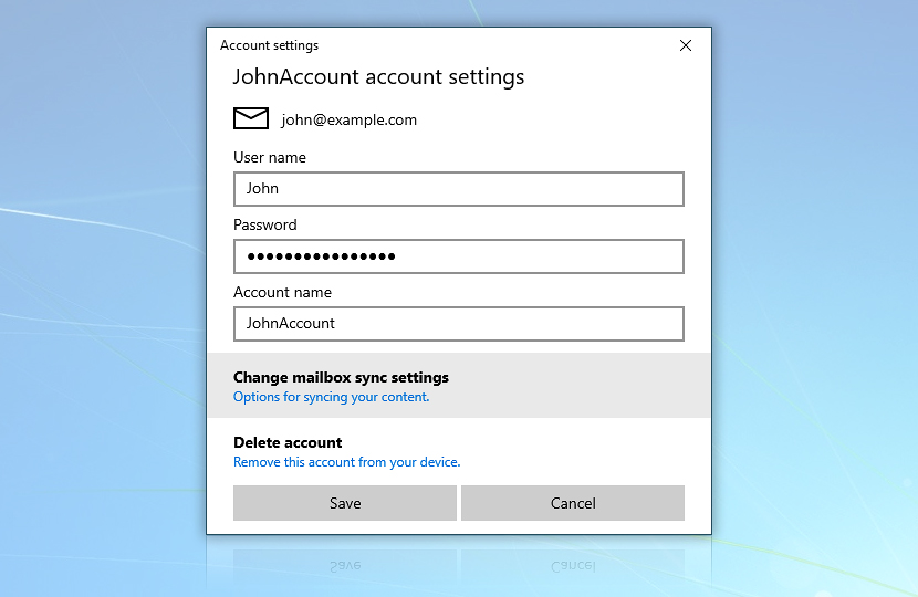 Windows Mail · Account settings