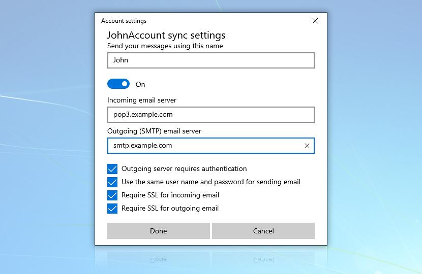 Windows Mail · Advanced mailbox settings