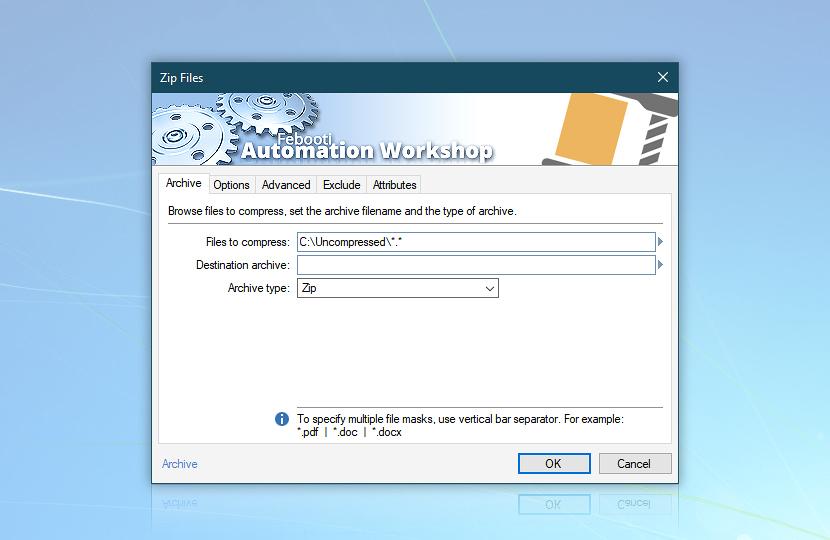 Zip Files · Files to compress: C:\Uncompressed\*.*