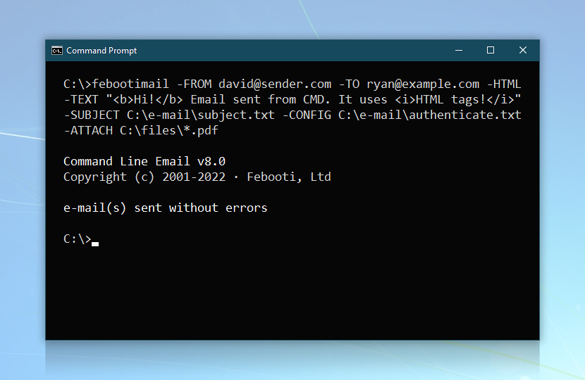 HTML email via CMD · Command line email screenshot