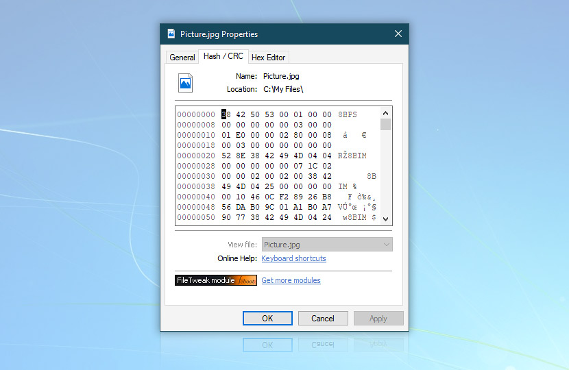Freeware hex editor · FileTweak screenshot