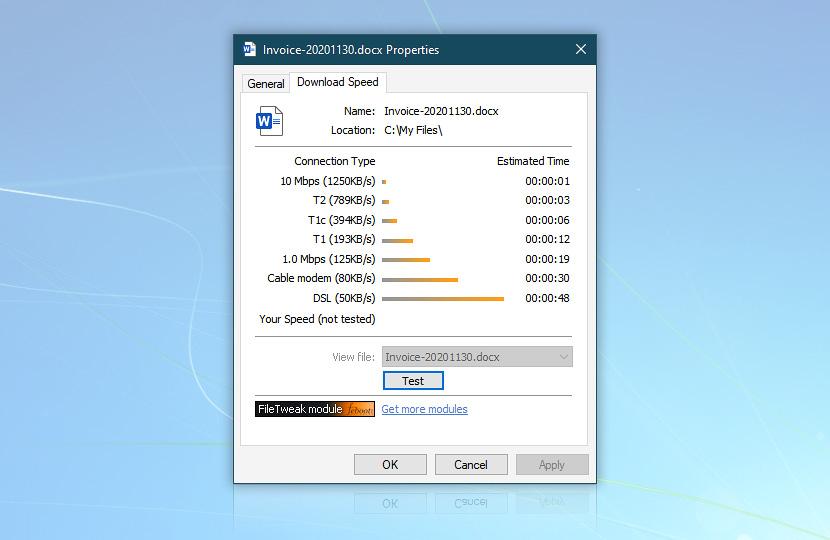 Download speed benchmark · fileTweak screenshot