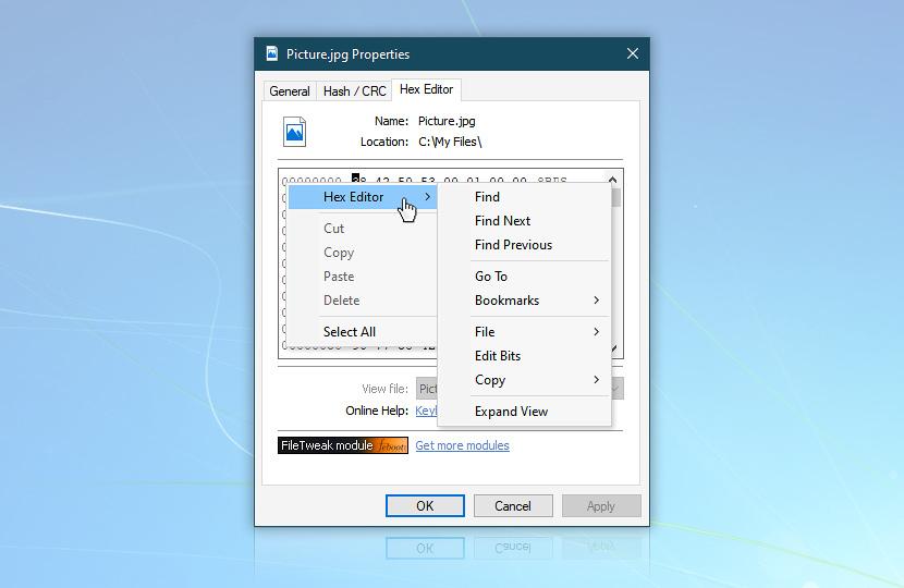 Context menu · FileTweak screenshot