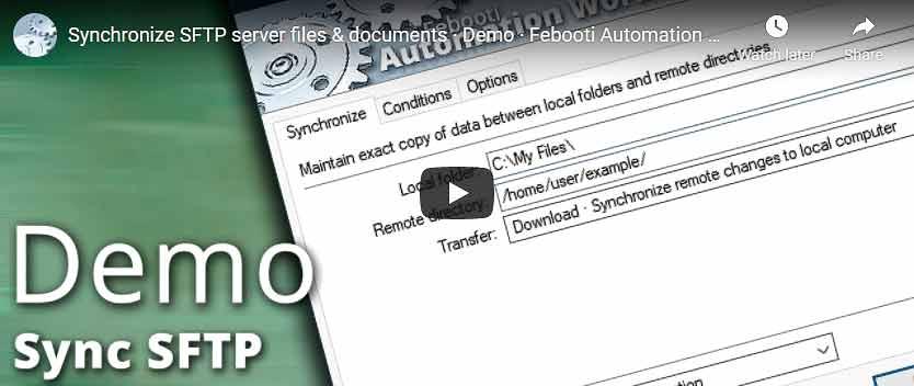 Видео на YouTube · Синхронизация файлов и документов с SFTP-сервера