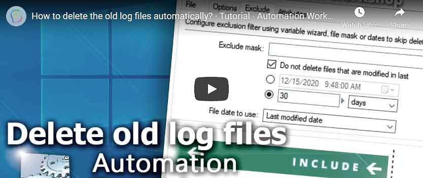 YouTube video · Delete old log files